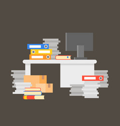 Pile of documents with office desk and computer vector