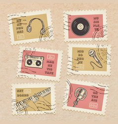 Postage stamps collection retro music equipment vector