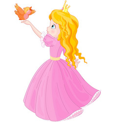 princess and bird vector image vector image