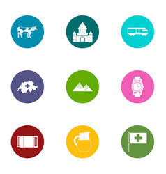 Quiet life icons set flat style vector