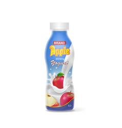 realistic apple yogurt bottle vector image