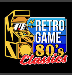 Retro game 80s classics old game machine vector