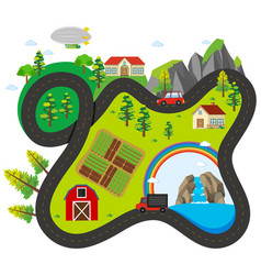 road map around the countryside vector image