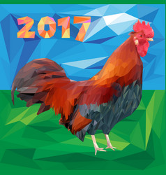 Rooster and 2017 numbers in polygon style on a vector