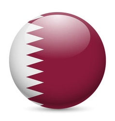 Round glossy icon of qatar vector image