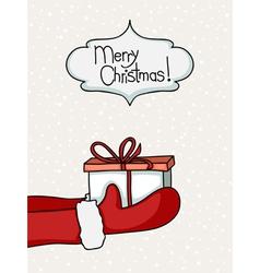 santa handing gift vector image