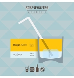 Screwdriver cocktail flat style with vector image