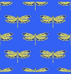 Seamless pattern with openwork dragonflies dark vector