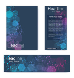 set flyer brochure size a4 templatebanner vector image
