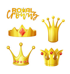 Set golden royal crowns in cartoon style for vector