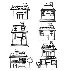set of building and house vector image