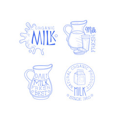 Set of labels for dairy products sketch vector