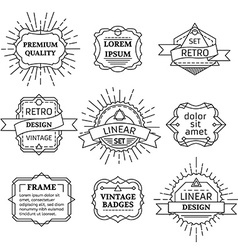 set of linear retro badges labels logo templates vector image