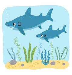 Sharks mom and ba characters vector