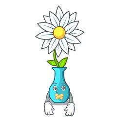 Silent mascot beautiful flower in vase cartoon vector