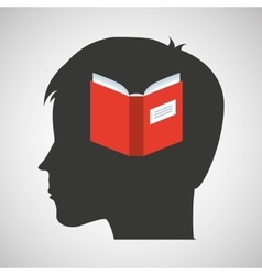 silhouette head boy student knowledge vector image