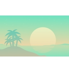 Silhouette of beach with palm at sunrise vector