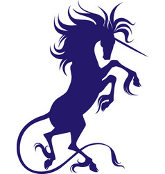 Silhouette of unicorn with cloven hooves vector