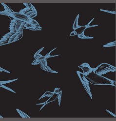 Sketch swallow pattern bird vector