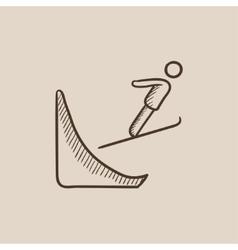 Ski jumping sketch icon vector