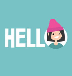 smiling winking girl says hello conceptual sign vector image