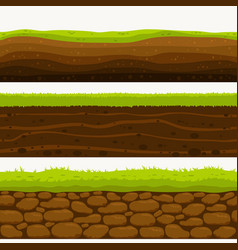 Soil seamless layers ground layer stones vector