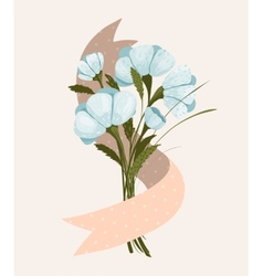Spring Flowers Bouquet with Ribbon vector