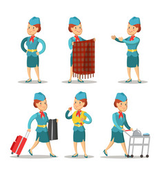 Stewardess cartoon in uniform air hostess vector