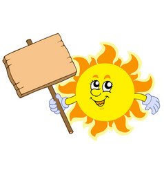 Summer sun with wooden table vector