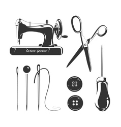 Tailor sewing accessories elements for vector image