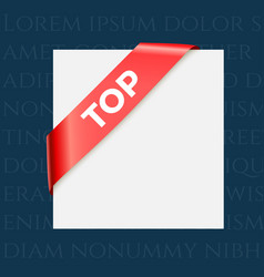 top - red corner ribbon design element vector image