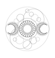 triple moon magic and astronomy vecor tattoo vector image