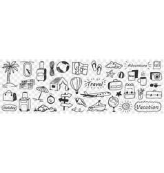 Vacations and adventure doodle set vector