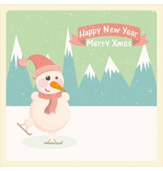 Vintage of a snowman in the mountains vector
