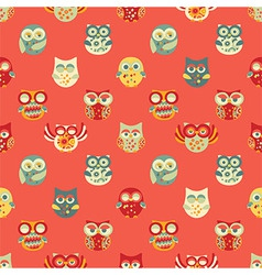 Vintage Seamless Pattern with Owls vector image