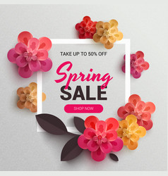 Web wanner with red paper flowers for spring sales vector