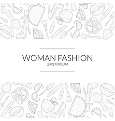 woman fashion banner template with beauty elements vector image