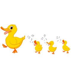 happy duck family cartoon vector image