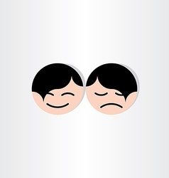 kids faces happy and sad icons design vector image