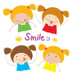 kids girl children smile happy cartoon character vector image vector image