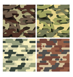 military seamless pattern set camouflage vector image