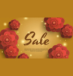 sale gold background with red paper flowers vector image