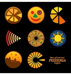 Set of isolated brown and orange round pizzeria vector image