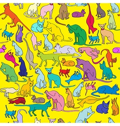 colored cats pattern vector image