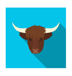 highland cattle head icon in flat style isolated vector image