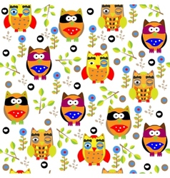 Seamless colourfull owl pattern for kids in vector image