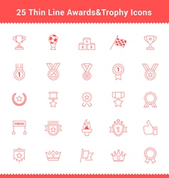 Set of Thin Line Stroke Awards and Trophy Icons vector image vector image