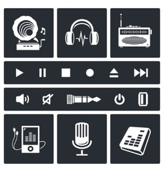 Sound and Music icon set vector image