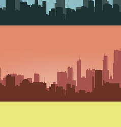 Three coloured contours of city vector image