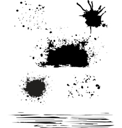 grunge blot set black color isolated vector image vector image